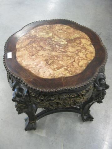 523: Chinese Carved Rosewood & Marble Stand, elaborate