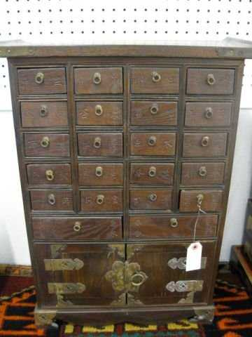 - 548: Chinese Antique Spice Cabinet, 22 Drawers Over Dou