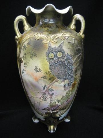 916: Royal Nippon Moriage Porcelain Owl Vase, unusual t