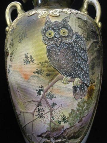 916: Royal Nippon Moriage Porcelain Owl Vase, unusual t - 4