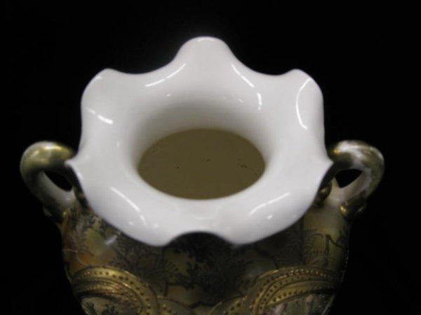 916: Royal Nippon Moriage Porcelain Owl Vase, unusual t - 8