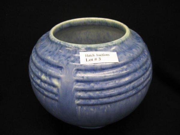 3: Roseville Tourmaline Art Pottery Vase, blue glaze,