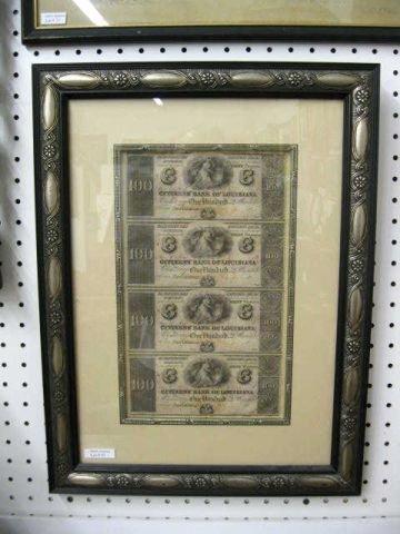 12: Early Uncut Sheet of Louisiana Paper Money, 4-$100