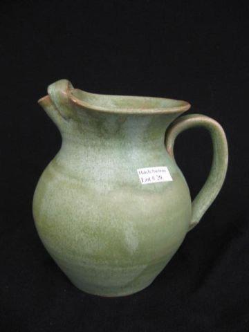 20: Cole North Carolina Pottery Pitcher, green frogskin