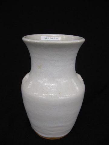 21: Ben Owen North Carolina Pottery Vase, white glaze,