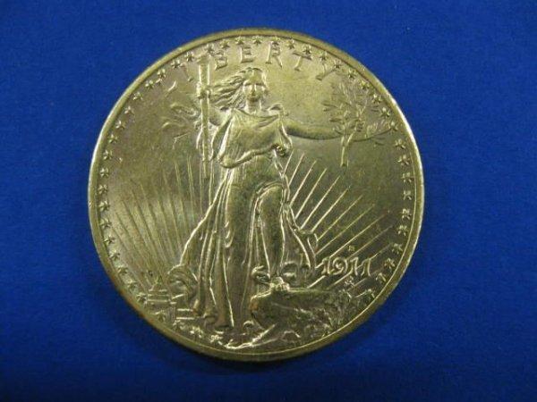 171C: 1911-S U.S. $20.00 St. Gaudens Gold Coin, choice