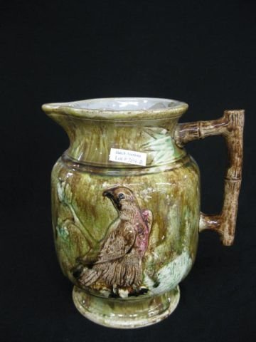 389A: Victorian Majolica Pottery Pitcher, raised bird