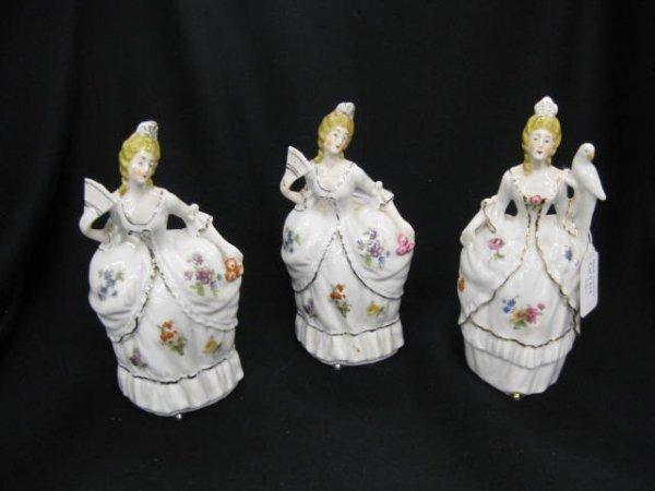 414: 3 pc. Deco Era Figural Porcelain Dresser Set,