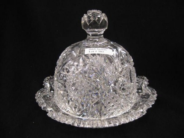 503: Brilliant Period Cut Glass Butter Dish,