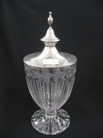 509: Cut & Engraved Glass Compote, sterling cover,