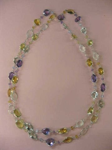 511: Gemstone Necklace, high grade amethyst, citrine,