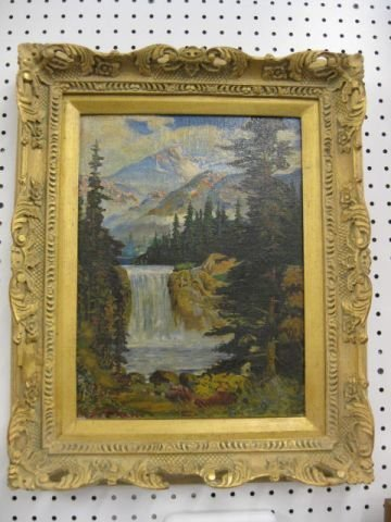 513: Fine Painting, Landscape with Waterfall,