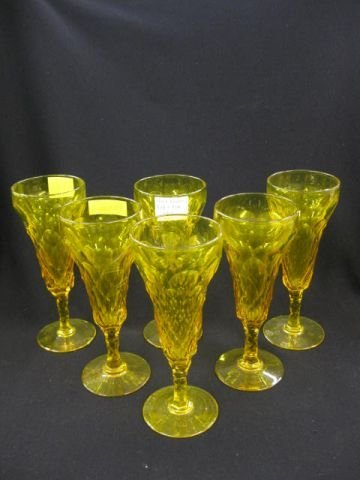 516:  6 Rare Dorflinger Canary Yellow Cut Glass Wines,