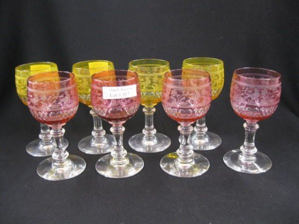 517: Set of 8 Colored Cut-to-Clear Wines with bird