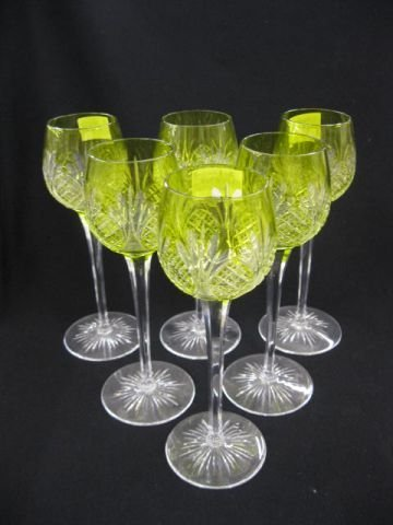 518: Set of 6 Cut-to-Clear Wines, gorgeous yellow green