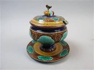 Sarreguemines French Majolica Pottery Tureen
