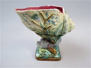 Majolica Pottery Figural Dolphin and Shell Vase