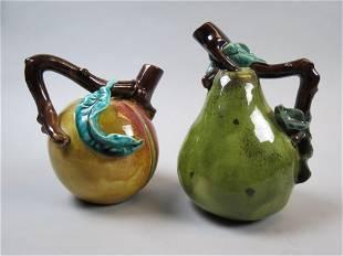 Pair of Majolica Pottery Figural Fruit Jugs