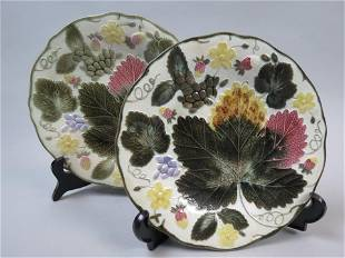 Pair of Wedgwood Majolica Pottery Plates