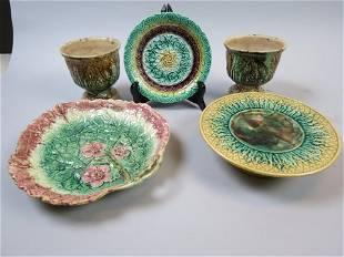 5 pcs. Majolica Pottery