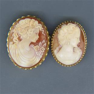 Two 14K Gold Cameo Brooches or Pendants