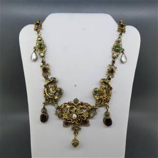 Antique Austria-Hungarian Gem Set Silver Necklace