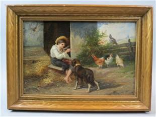 """Henri Van Kuyck, oil, """"Among his Pets"""""""