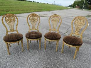 4 Hollywood Regency Carved Hot Air Balloon Chairs