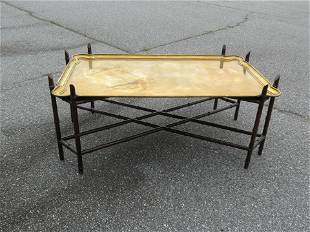 Yale R. Burge Chippendale Coffee Table, brass top