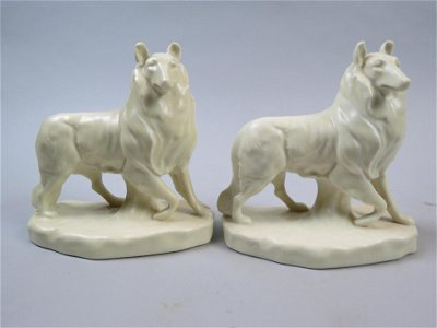 Pair of Rookwood Pottery Collie Bookends
