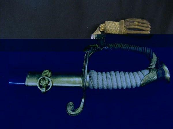 13: 1852 Naval Officer-Heiberger & Son Sword, etched-S.