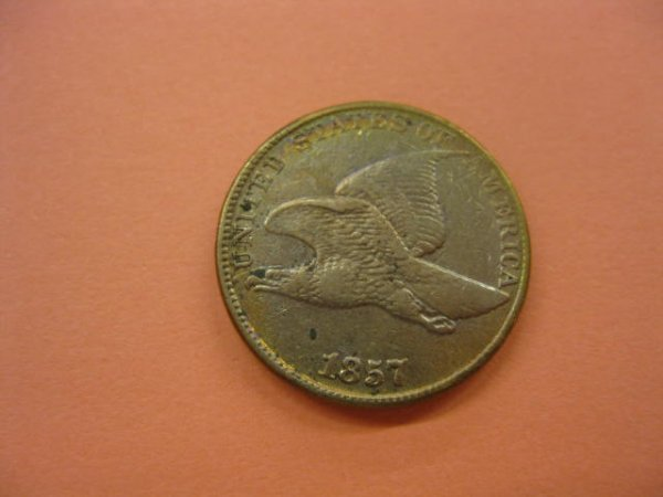 166: 1857 Flying Eagle Cent, A.U.