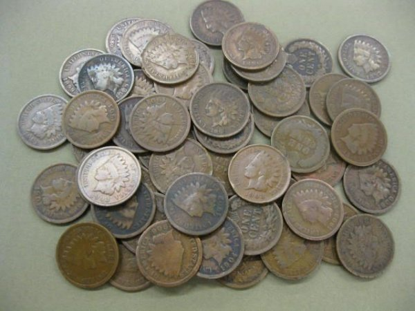 169: 53 Indian Head Cents, circulated.