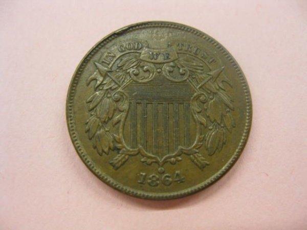 170: 1864 U.S. Two Cent Piece, extra fine+.