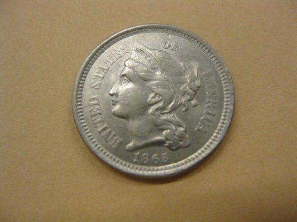 172: 1865 U.S. Three Cent Nickel, A.U.+.