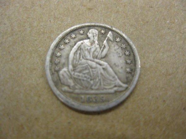 175: 1839 U.S. Half Dime, liberty seated, XF.