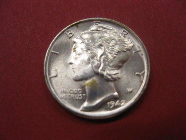 186: 1942-S U.S. Mercury Dime, gem uncirculated.