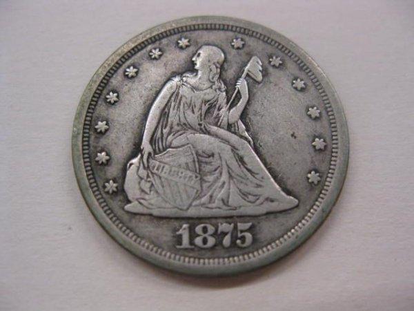 187: 1875-S U.S. Twenty Cent Piece, F/VF.
