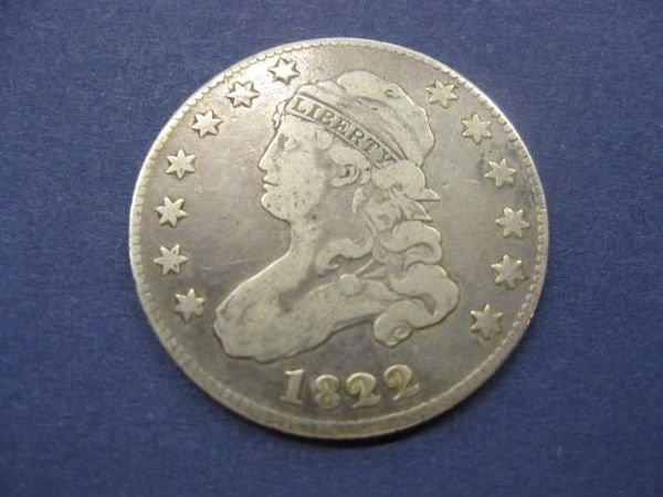 188: 1822 U.S. Draped Bust Quarter, fine, large size..