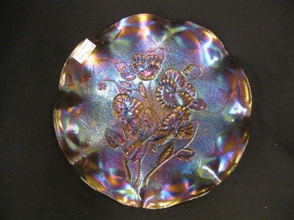 400B: Imperial Carmel Glass Bowl, pansy, low ruffled de