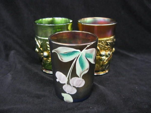 404: 3 Carnival Glass Tumblers; 2 by Northwood and one