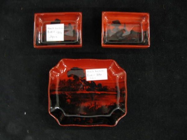406: 3 Royal Doulton Flambe Pottery Dishes, largest is