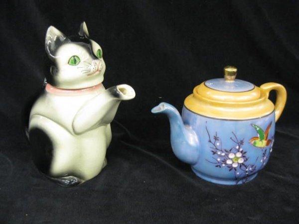 407: 2 Teapots; figural cat by Erphila & Japanese