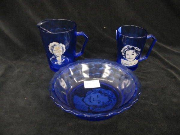 408: 3 pcs. Shirley Temple Decorated Cobalt Glassware;