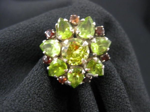 410A: Peridot & Garnet Ring, rich color, floral style s