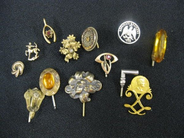 411B: Collection of 13 Antique Stickpins, includes silv