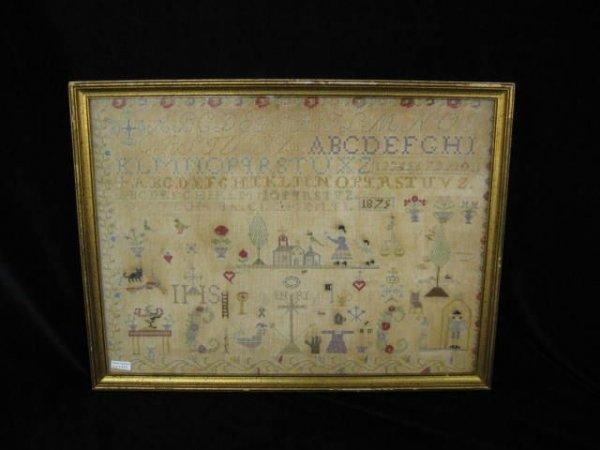 412: 1875 Sampler, Pictorial, Alphabet & Numerical,
