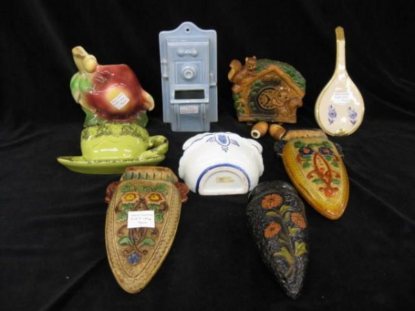 416: 9 Figural Wall Pockets, mostly art pottery, includ