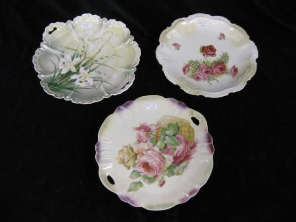 417: 3 pcs. Antique Porcelain; cake plates & plate, one