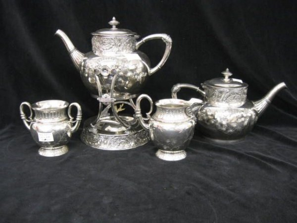 419: James Tufts Victorian Silverplate Tea Set, with ho